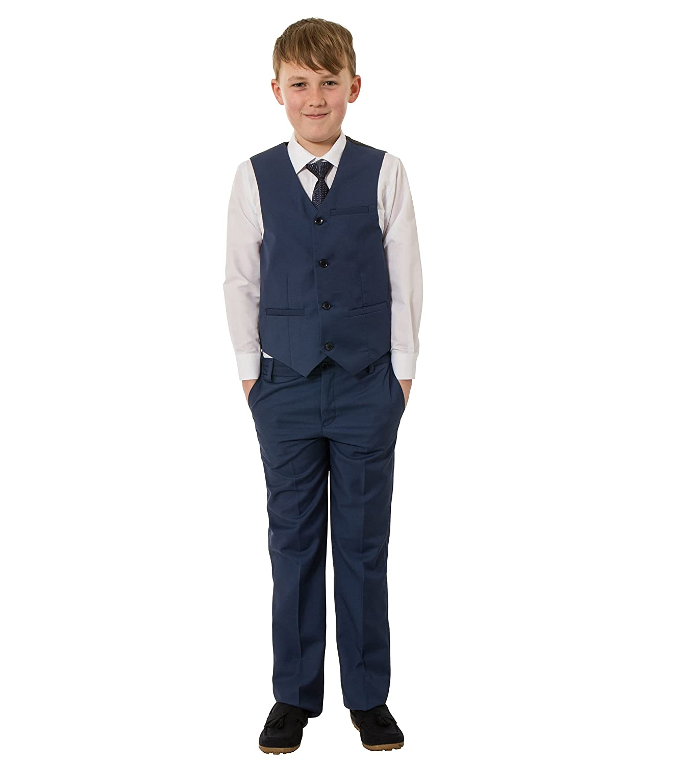 Page Boy Wedding Formal Christening Blue Suit Waistcoat Set with Tie