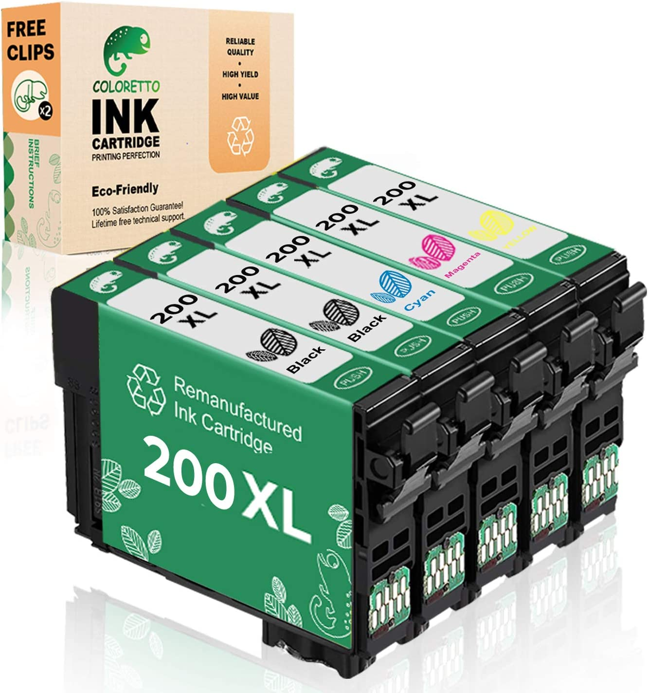 Coloretto Remanufactured Ink Cartridge Replacement for Epson 200 T200XL to use with WF-2540 WF-2530 WF-2520 Expression Home XP-410 XP-400 XP-200 Printer (2Black 1Cyan 1 Magenta 1Yellow) Combo Pack
