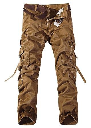 Panegy - Pantalones Cargo para Hombre con Multibolsillos con Cinturón para Trabajo Viaje Deporte - 5 Colores 7 Tallas a Elegir