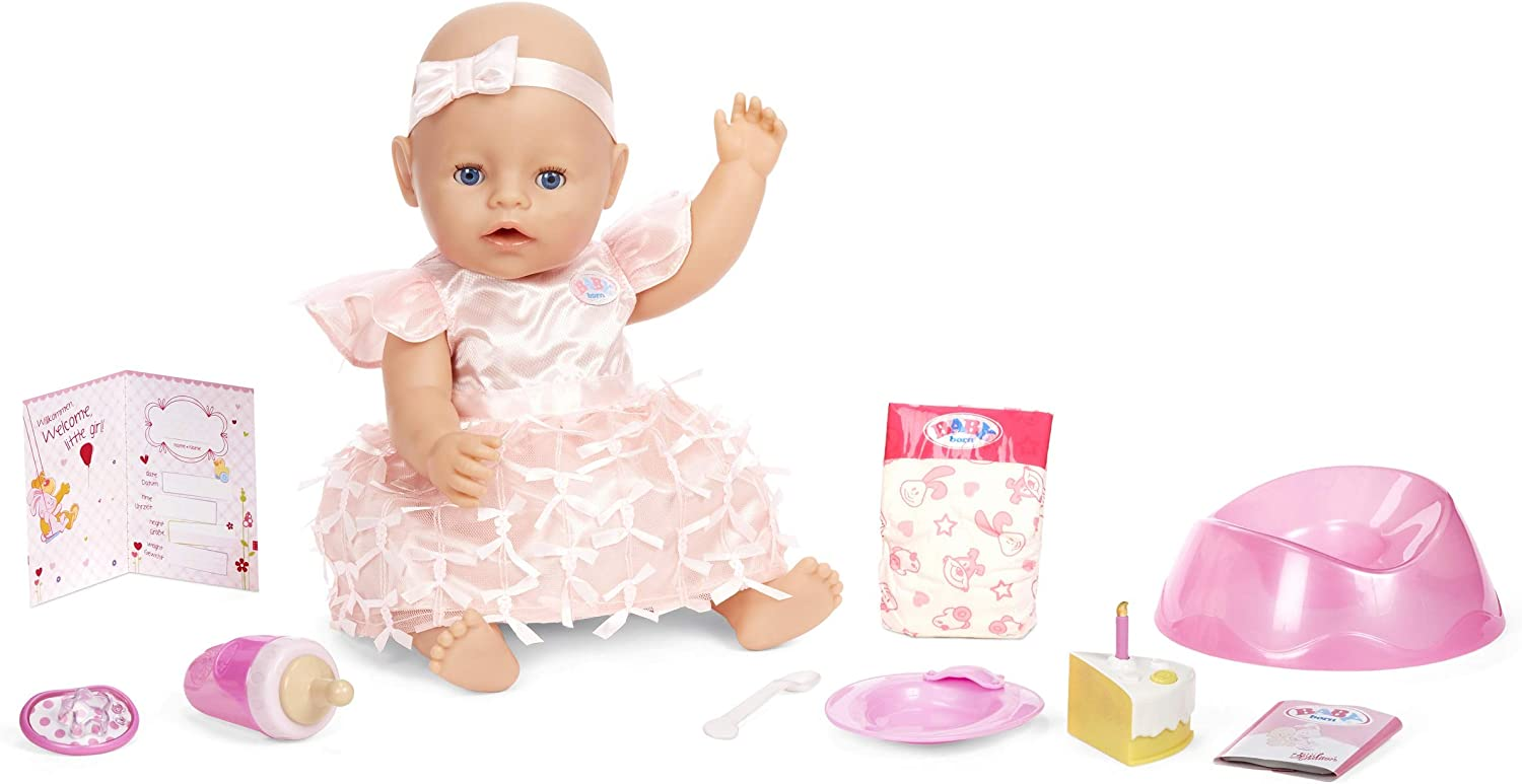 Baby Born Interactive Baby Doll Party Theme – Blue Eyes with 9 Ways to Nurture, Multicolored