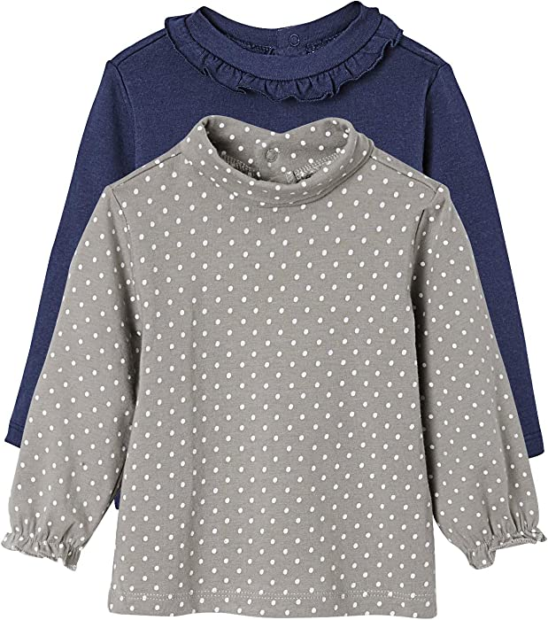 1d1d2ecd1634 VERTBAUDET Lote de 2 Camisetas de Cuello Alto para bebé niña Azul Oscuro  Bicolor 1-. Atrás