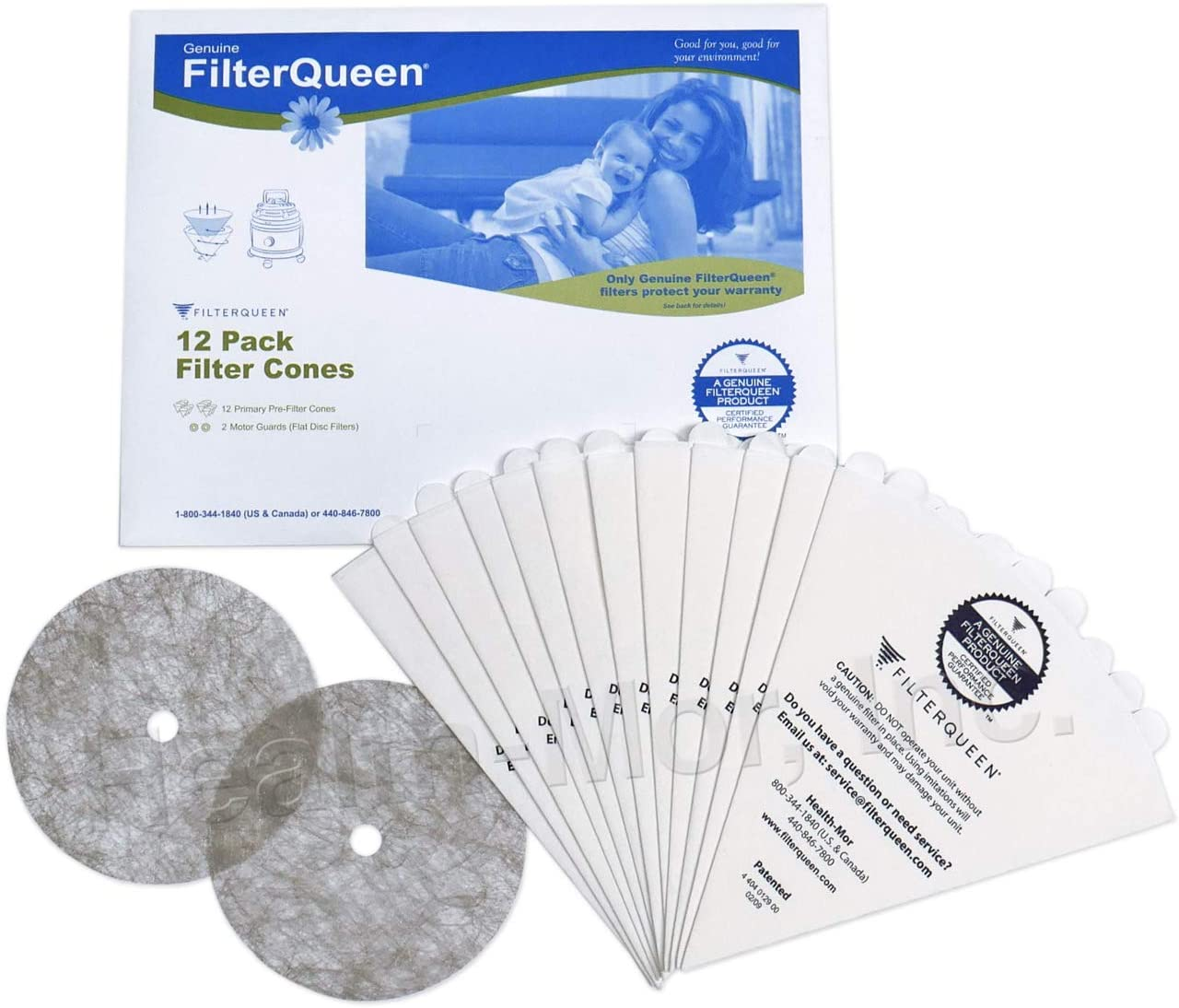 FilterQueen Majestic Cellulose Pre-Filter Cones, 12 Pack