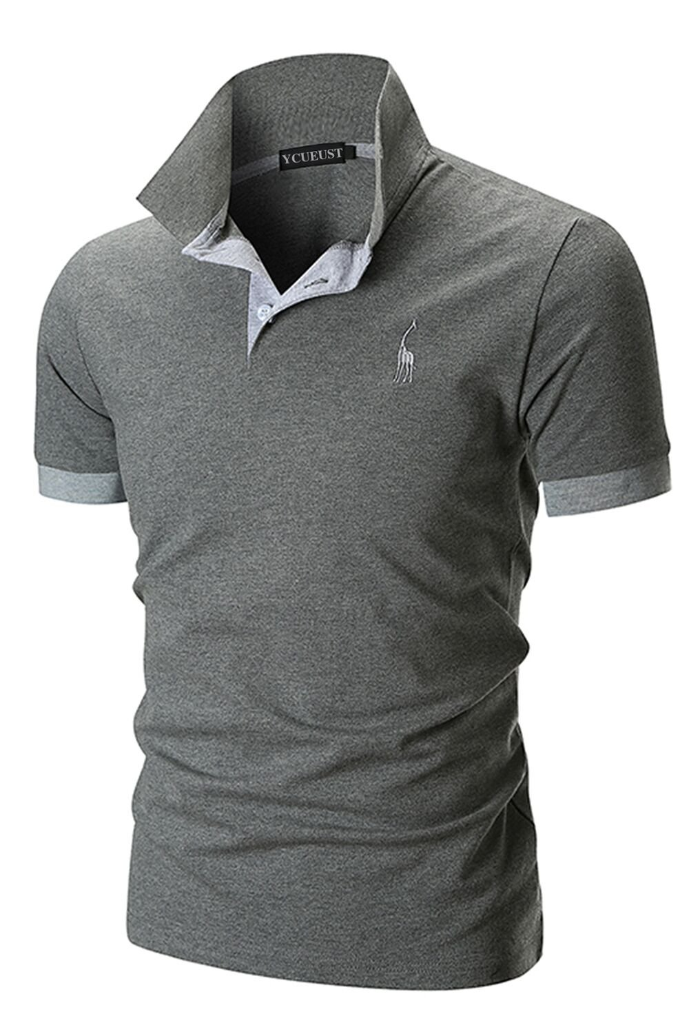 f333860fd1 YCUEUST Hommes Cotton Basic Manche Courte Casual Polo Tennis Golf Poloshirt  product image