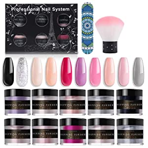 Latorice Dipping Powder Nail Set for Nail Art 10 Colors Collection, Dip Powders Nails for French Nail Manicure Nail Art Set Essential Set,Not included base & top coat, Activator.