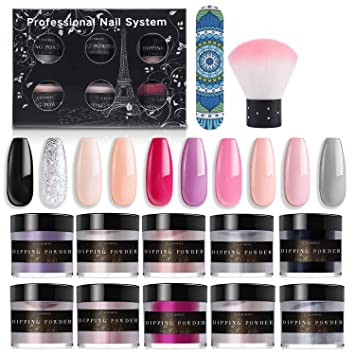 Amazon Com Latorice Dipping Powder Nail Set For Nail Art 10 Colors Collection Dip Powders Nails For French Nail Manicure Nail Art Set Essential Set Not Included Base Top Coat Activator