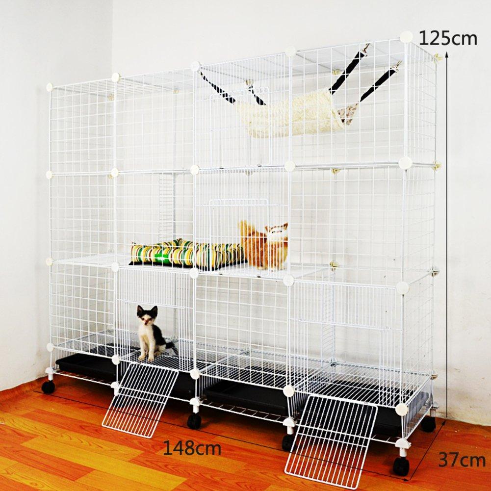折り畳み式の金属製犬クレート,小型犬猫ケージ ウサギのケージを二層 スリーピース ペット フェンス ホイールとトレイの鉄ケージ ステンレス犬ケージ箱-U B07CVV89MM 23193 U U