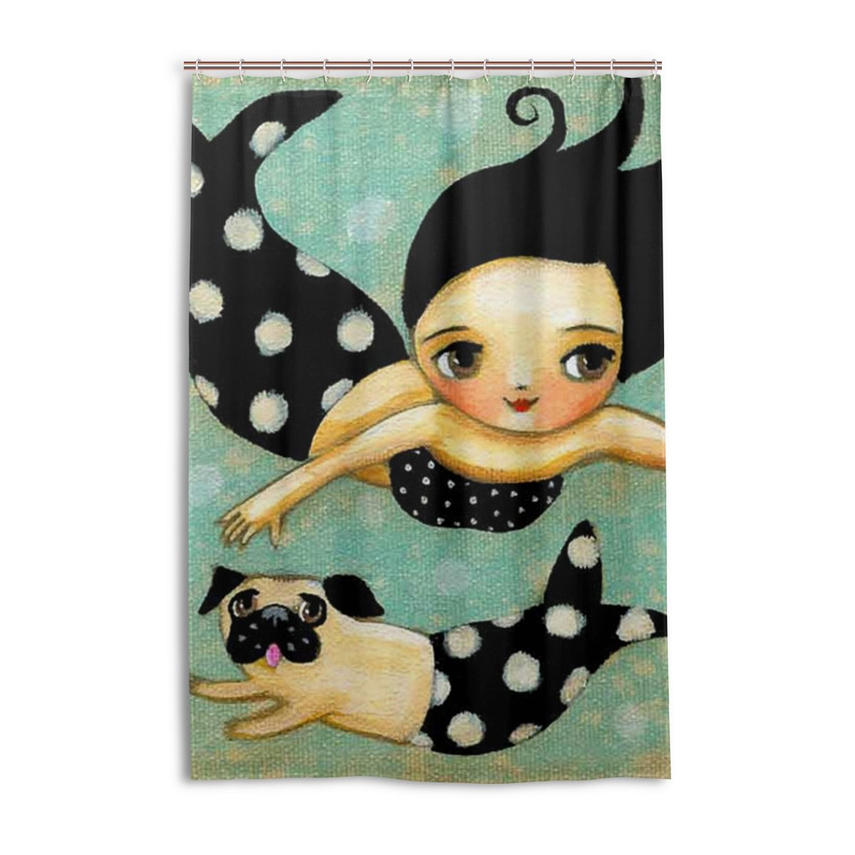 A lie 48 x 72 Inch Shower Curtain, Vintage Mermaid Swimming, Waterproof Polyester Fabric Decorative Bath Curtains
