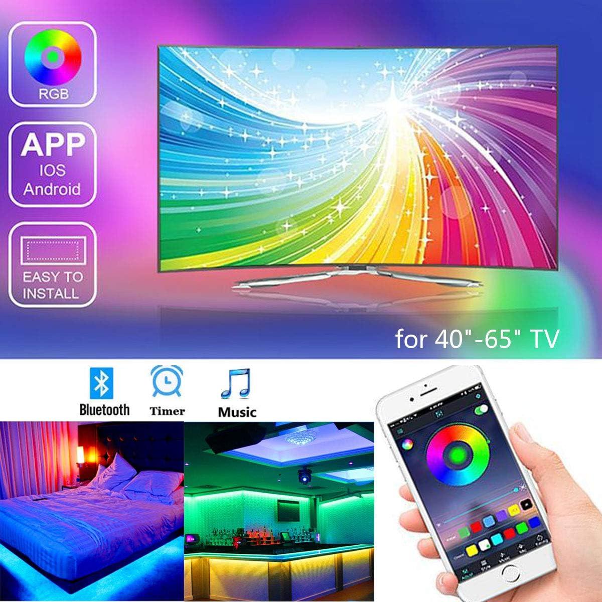Tira Led TV 2M, Banda RGB LED alimentada por USB para TV de 40 a-60 pulgadas, Control mediante APP, impermeabilidad IP65, para Android e iOS.: Amazon.es: Iluminación