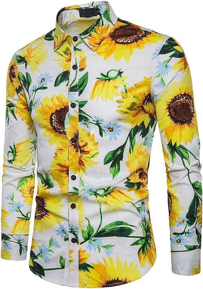 WWricotta LuckyGirls Camisa Negocio para Hombre de Manga Larga Formales Camisetas Estampado de Girasol Casual Entallada Remeras: Amazon.es: Deportes y aire libre