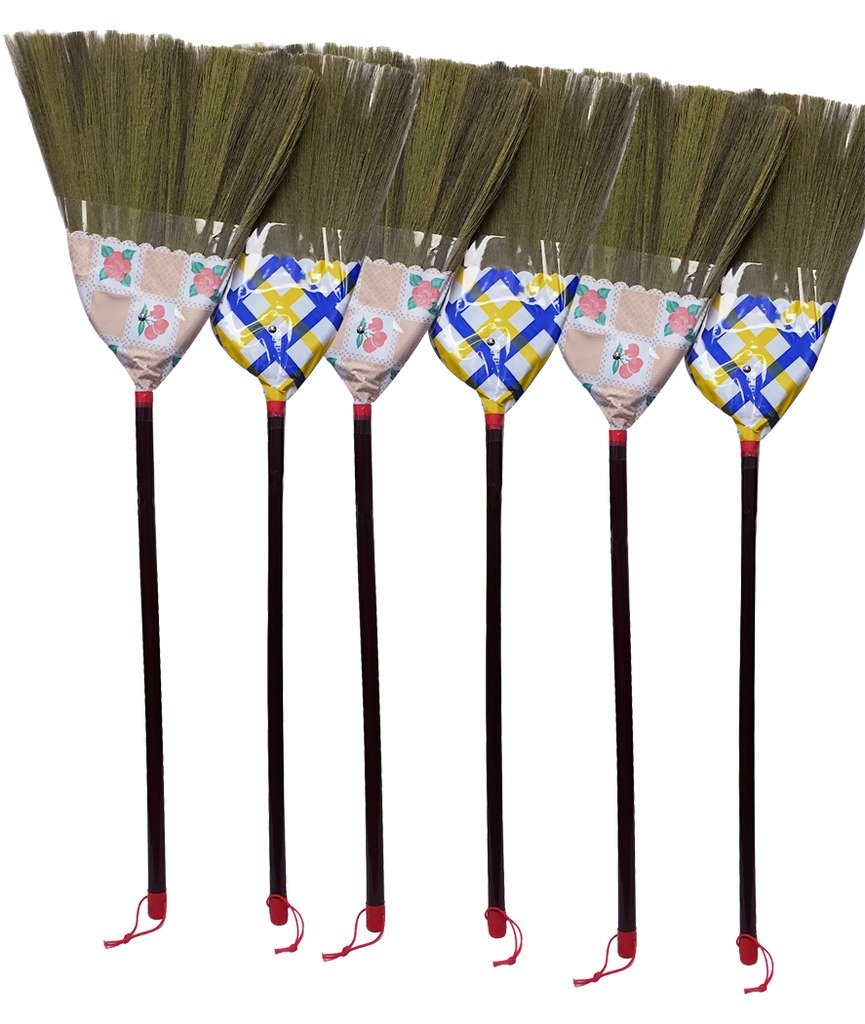 Caravelle Thai straw soft Broom with cover 12'' head width, 38'' overall length for hardwood floor-1pc by Caravelle