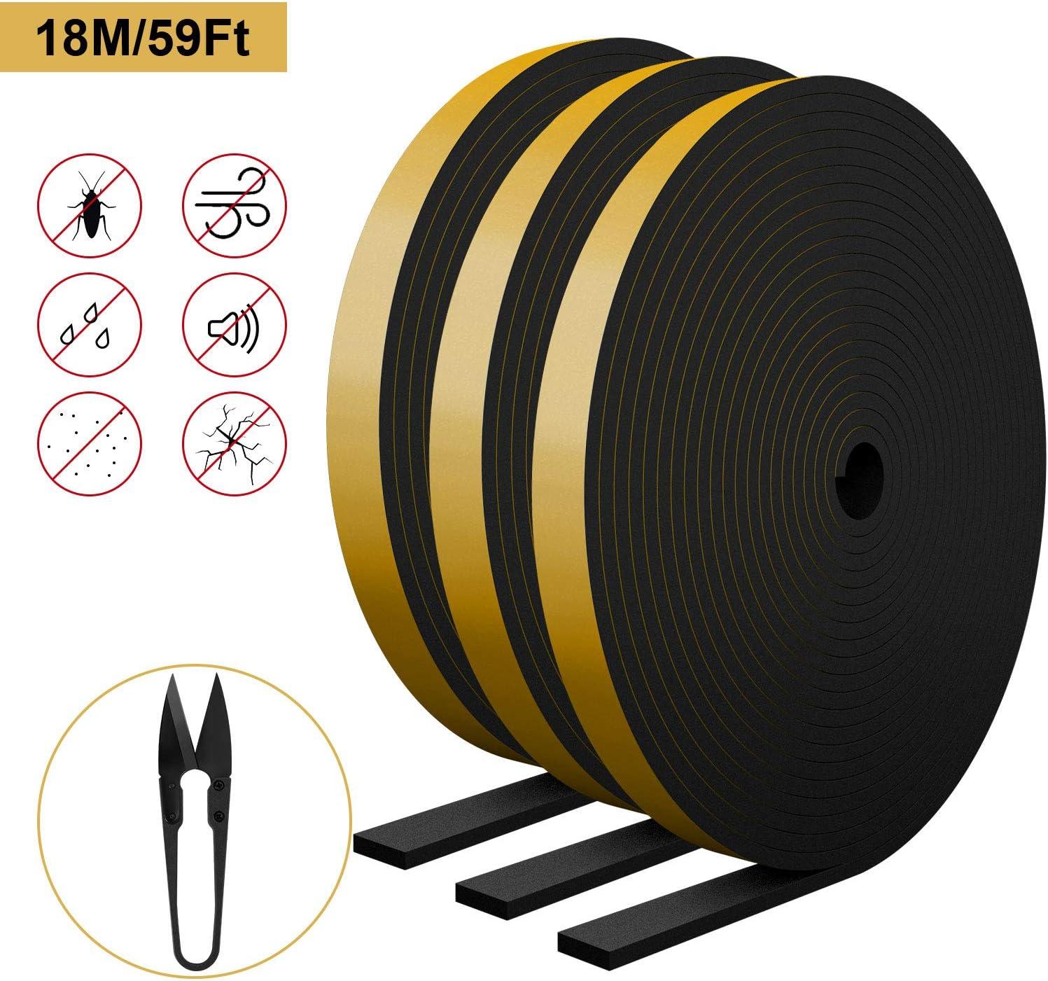 RATEL Tira de Sellado Junta 12 mm (W) * 3 mm (H) * 18 m (L) con Tijeras * 1, Tiras de Sellado Autoadhesivas Prova di collisione y Aislamiento Acústico para Grietas y Espacios (Negro)
