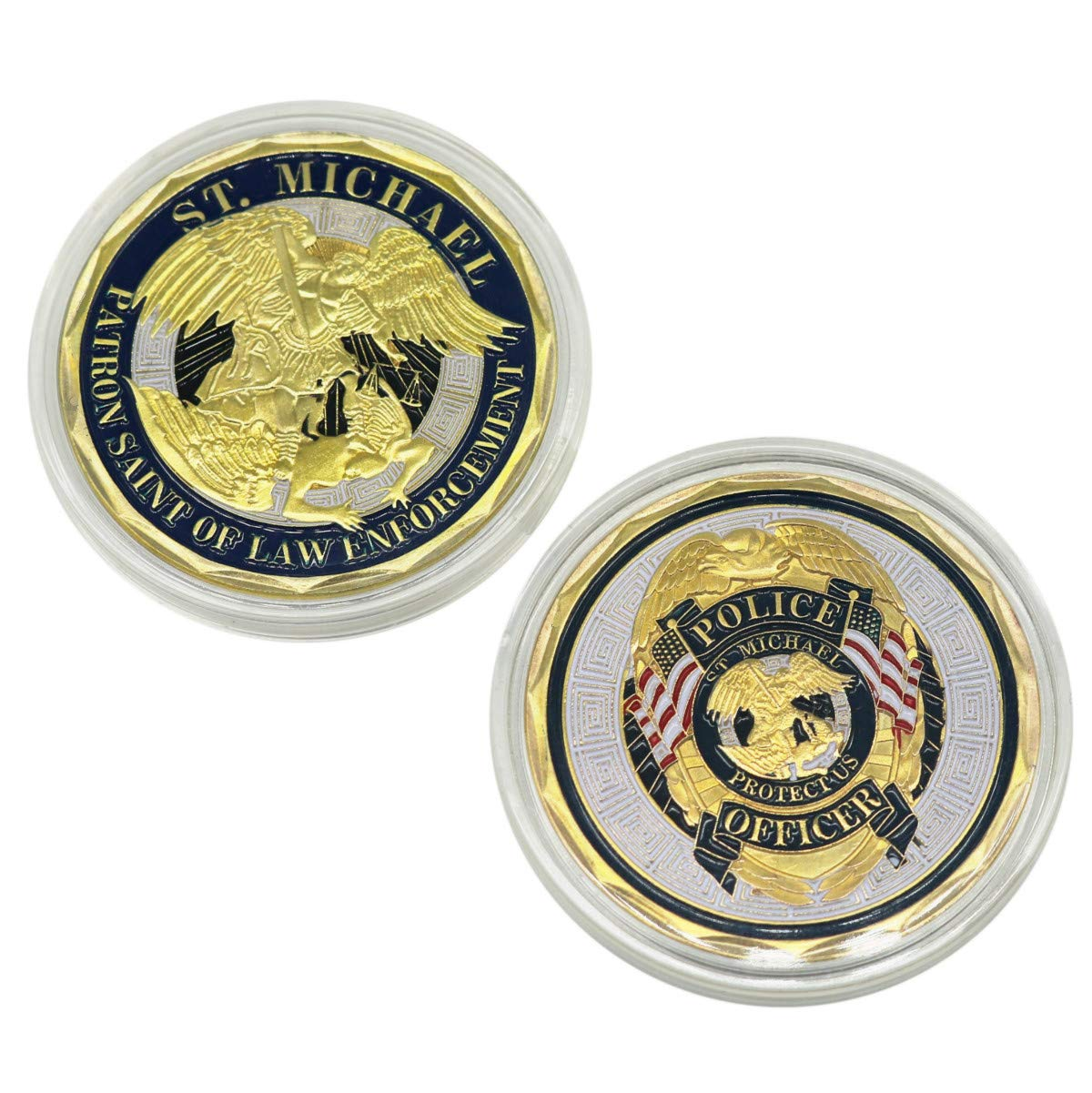 Michael Police Officers Challenge Coin,Patron Saint of Law Enforcement Prayer Coins HS St
