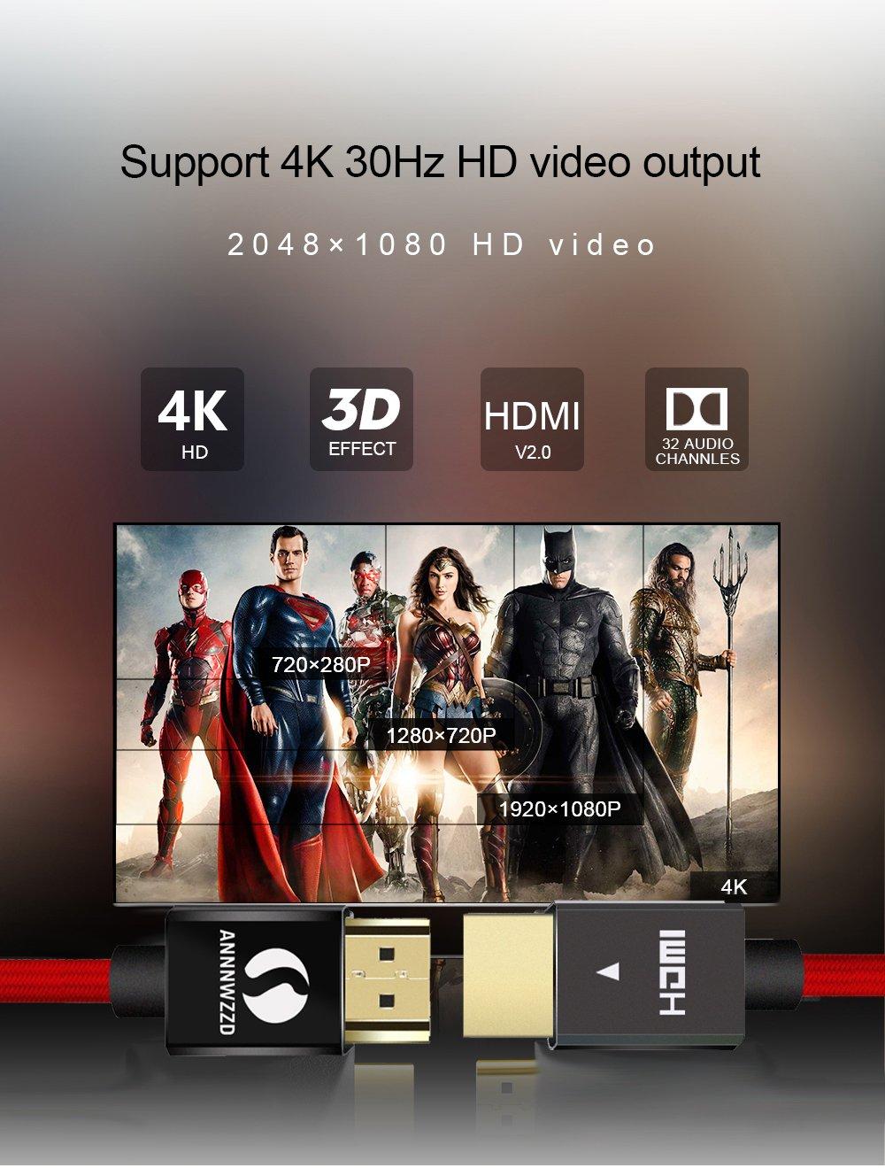 LinkinPerk cavo HDMI 4K 3M con supporto ARC HDMI 2.0 per 3D in Ultra HD,Full HD a 1080 p