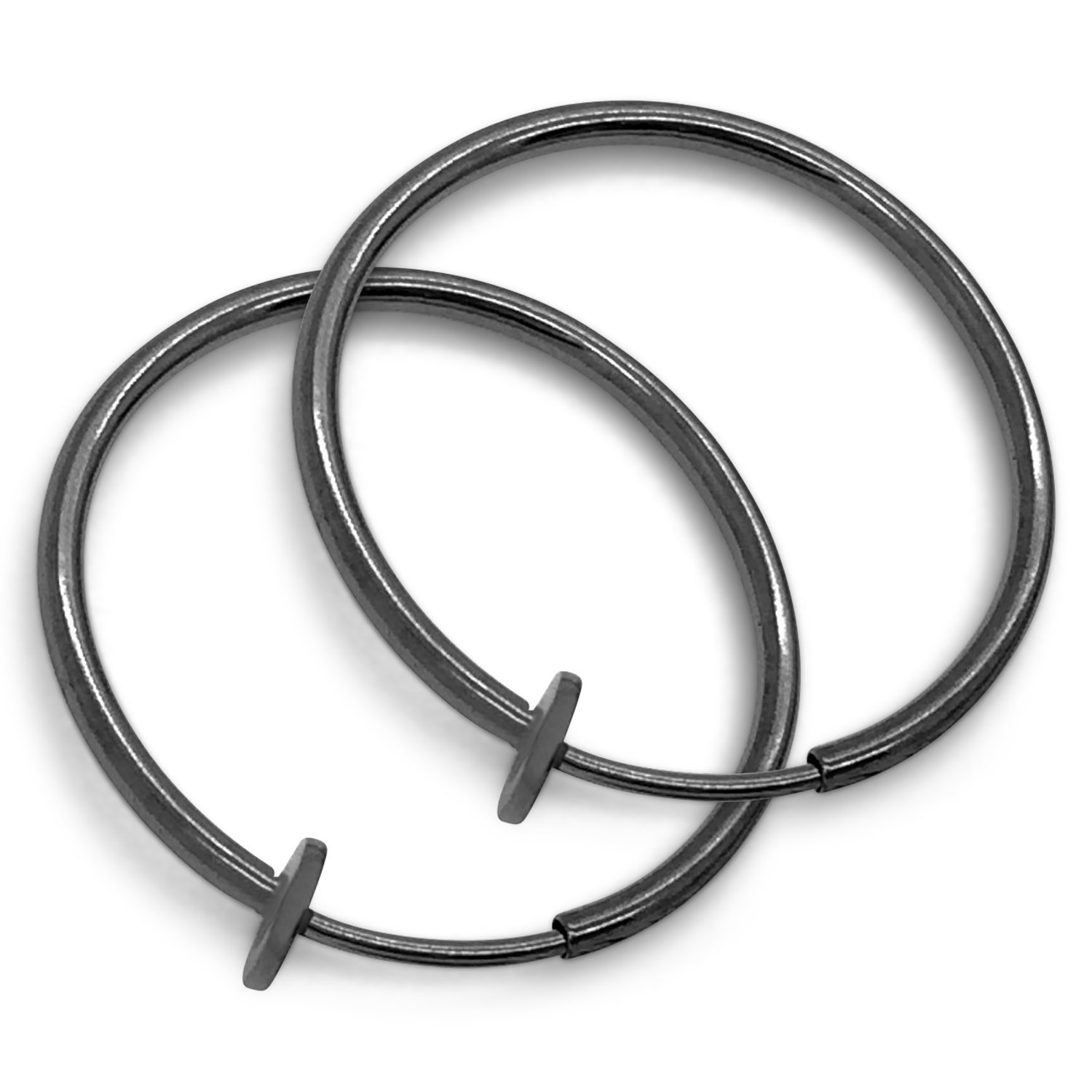 Silver Spring Hoops Earrings Clip On-Small, Medium & Large Silver Clip Hoop Earrings for Women & Girls (Dark Silver Medium)