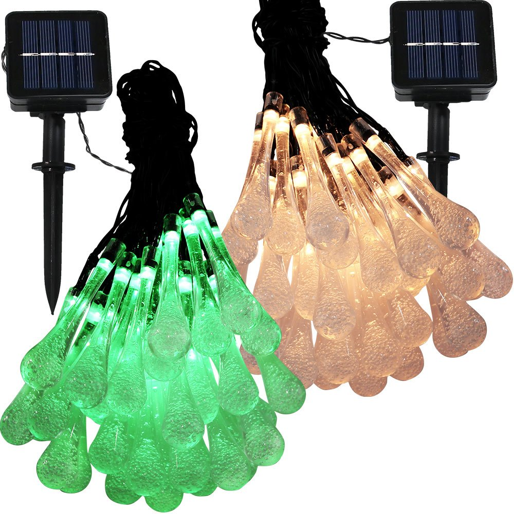 Sunnydaze Set of 2 20 Foot 30-Count LED Solar Powered String Lights Outdoor Water Drop Blue and White Sunnydaze Decor
