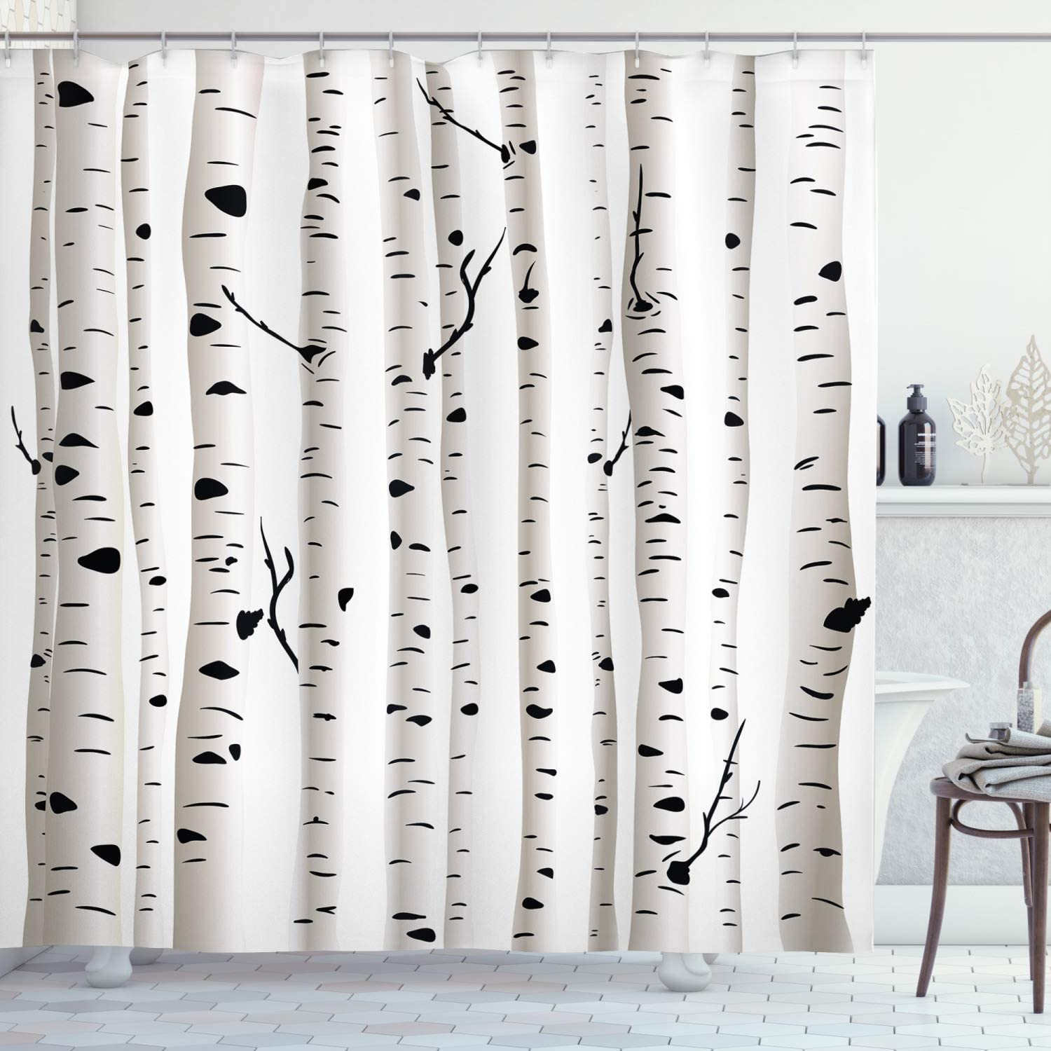 "Ambesonne Birch Tree Shower Curtain, Forest Seasonal Nature Woodland Leafless Branches Grove Botany Illustration, Cloth Fabric Bathroom Decor Set with Hooks, 84"" Long Extra, Black and White"