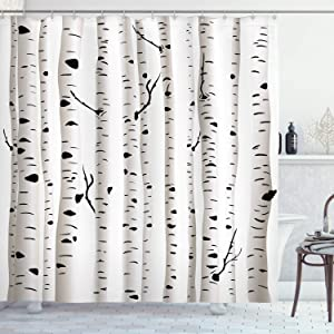 """Ambesonne Birch Tree Shower Curtain, Forest Seasonal Nature Woodland Leafless Branches Grove Botany Illustration, Cloth Fabric Bathroom Decor Set with Hooks, 70"""" Long, Black and White"""