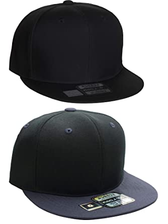 724e19178318d D I Plain Flat Bill Visor Blank Snapback Hat Cap with Adjustable Snaps - 2  Pk -