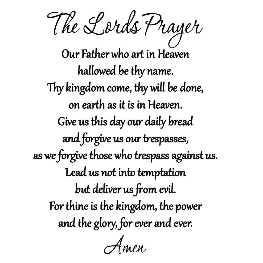 The Lord's Prayer Bible Wall Decal Our Father Vinyl Wall Art Scripture Quote Faith Home Christian Decor Stickers by VWAQ by VWAQ