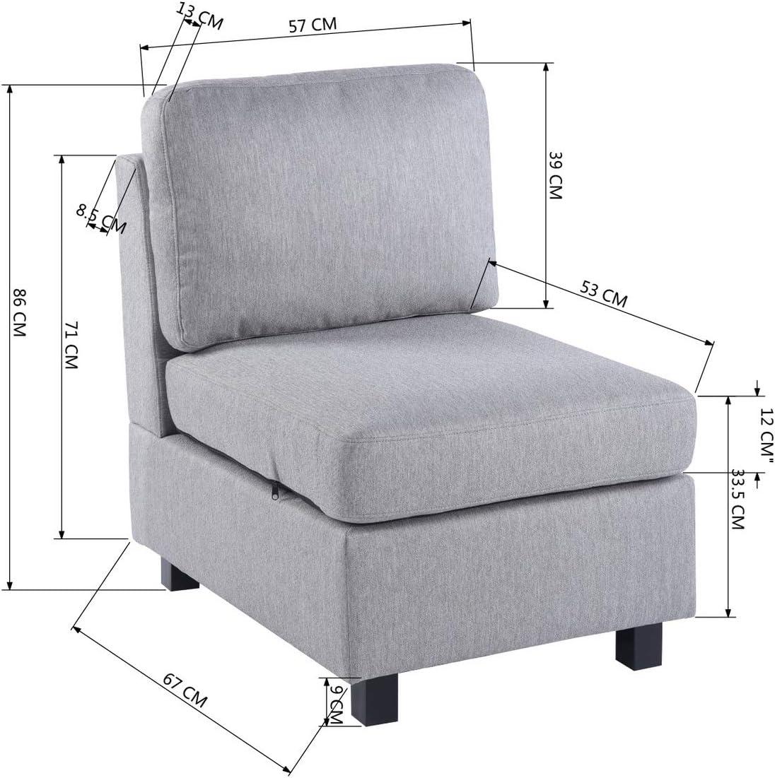 modulabile rimovibile Sedile modulare reversibile in tessuto grigio