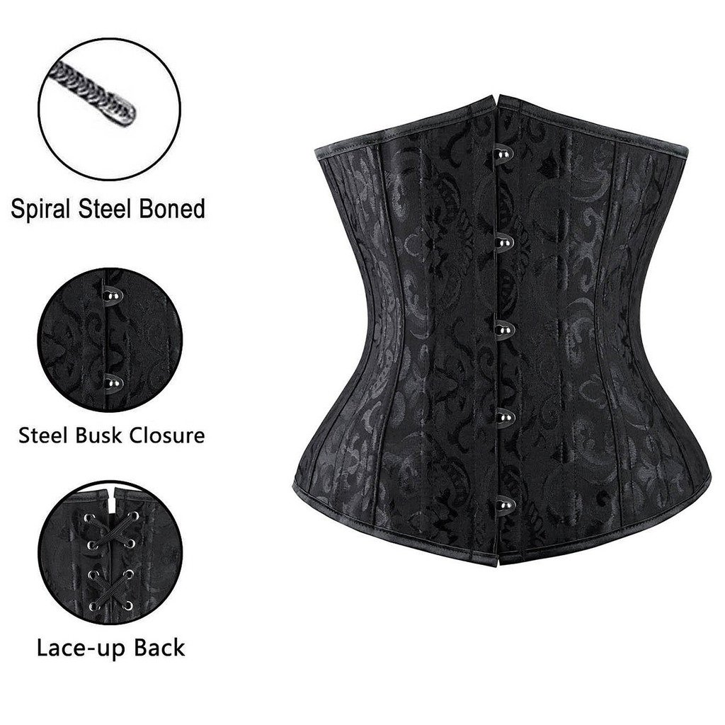 da05ac602e5 Amazon.com  SAYFUT Women s Double Heavy Spiral Steel Boned Underbust Waist  Cincher Corset  Clothing