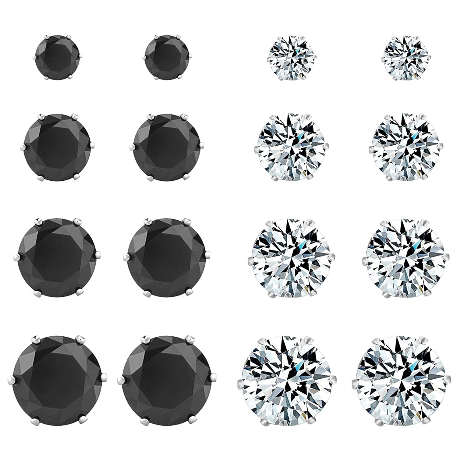 s women dp areke steel cubic white amazon com zirconia color pairs earring free nickel rhinestone hypoallergenic round stainless black stud jewelry