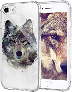 MOSNOVO Wolf Pattern Designed for iPhone SE 2020 Case/Designed for iPhone 8 Case/Designed for iPhone 7 Case - Clear