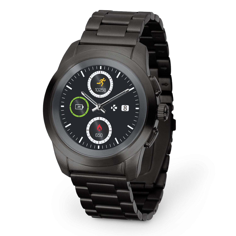 MyKronoz ZeTime Elite Hybrid Smartwatch with mechanical hands over a color touch screen – Regular Brushed Black / Metal Link