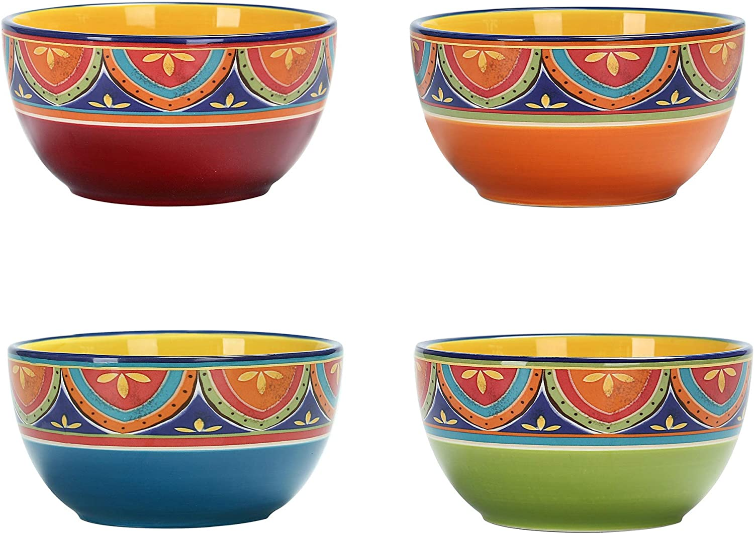 Soup /& Microwave /& Dishwasher Safe House Warming Birthday Anniversary Gift for Pasta Salad Cereal Bico Blue Talavera 26oz Ceramic Cereal Bowls Set of 4