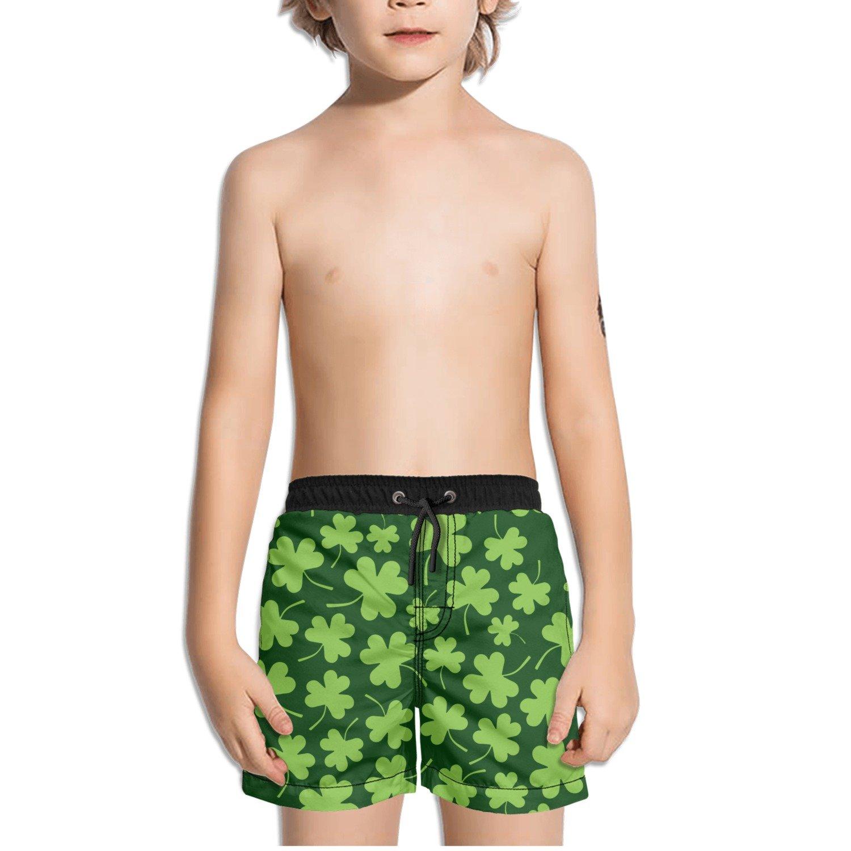 FullBo Shamrock Clovers Little Boys Short Swim Trunks Quick Dry Beach Shorts