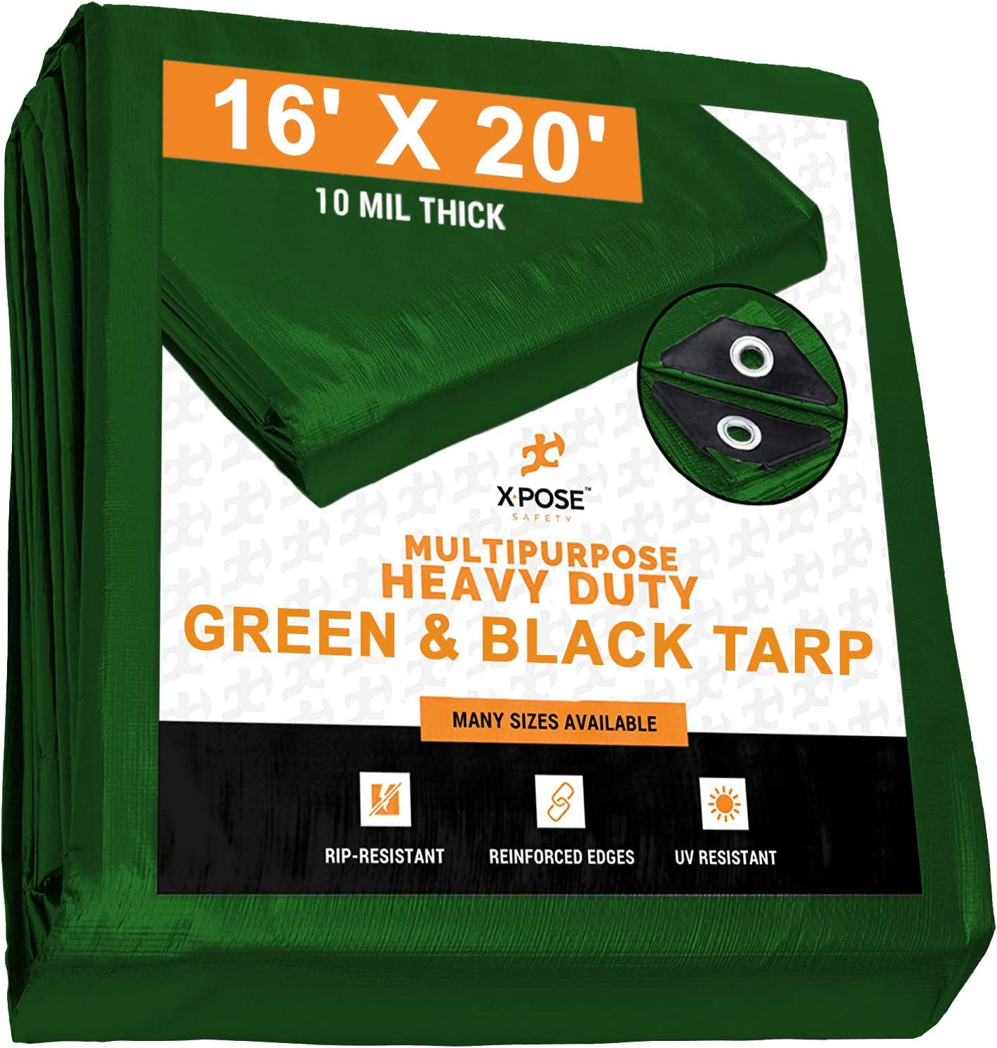Heavy Duty Poly Tarp 10 x 20-10 Mil Thick Waterproof Reversible Silver and Black Rustproof Grommets Laminated Coating UV Blocking Protective Cover by Xpose Safety
