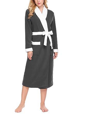 Ekouaer ekoauer warm fleece robe long sexy bathrobe for women at ekouaer ekoauer warm plush fleece robe elegant kimono bathrobe for womensmallblack sciox Image collections