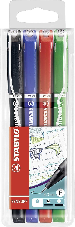 STABILO SENSOR Fineliner Pen 0.3 mm With Cushioned Tip BLACK INK