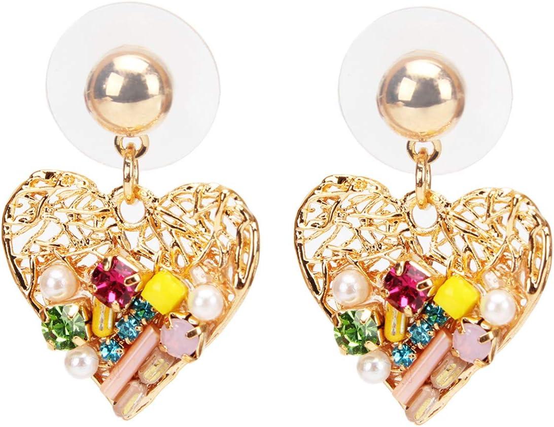 SUNSKYOO - Pendiente de corazón hueco de aleación con diamantes de imitación y perlas de imitación As Descriptionn A love section