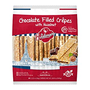 La Boulangere Chocolate Hazelnut Crepes, Individually Wrapped, Non GMO, Free From Artificial Flavors & Colors, 20-Count