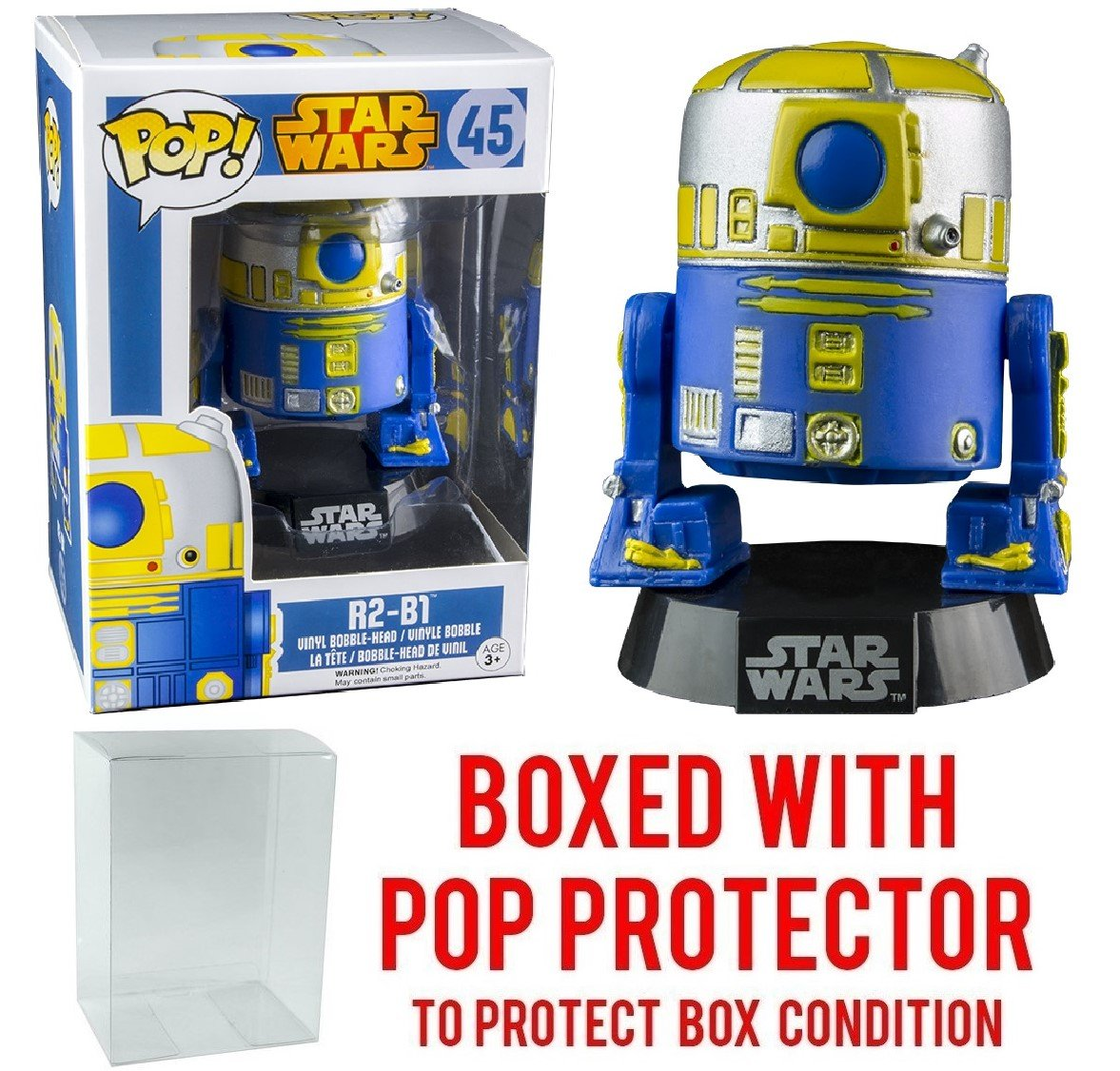 Funko Pop! Star Wars: R2-B1 #45 (Gamestop Exclusive) Vinyl Bobble-Head Figure (Bundled with Pop BOX PROTECTOR CASE)
