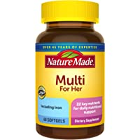 Nature Made Multivitamin For Her, Women's Multivitamin for Nutritional Support, Brown 60 Softgels, 60 Day Supply