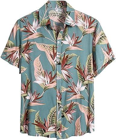 Nueva Camisa Hawaiana de Manga Corta para Hombre Primavera y Verano Moda Camisas Estampada Unisex Shirt Casual Suelta Top Impresa de Vacaciones en la Playa: Amazon.es: Ropa y accesorios