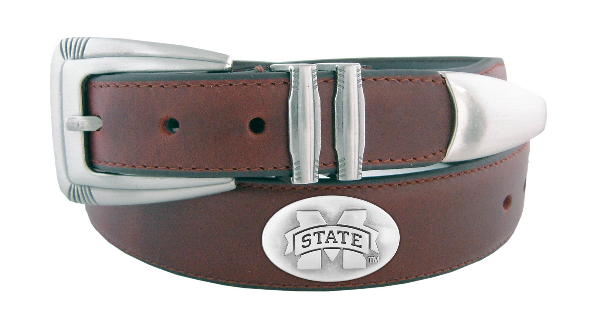 ZEP-PRO NCAA Mississippi State Bulldogs Men's Leather Concho Tapered Tip Belt, Brown, 32