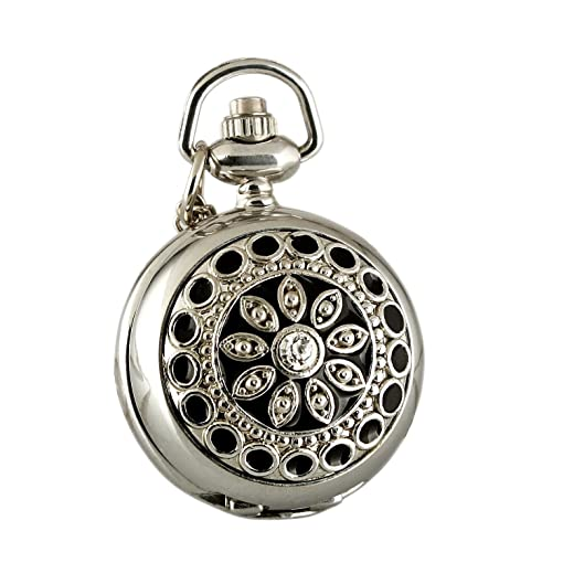 Amazon carrie hughes womens ladies fashion small flower carrie hughes womens ladies fashion small flower steampunk alloy stainless steel pendants pocket watchblack mozeypictures Gallery