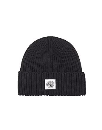 e63a7e072 Stone Island Hat - Mens N26A7 Ribbed Wool Hat in Black