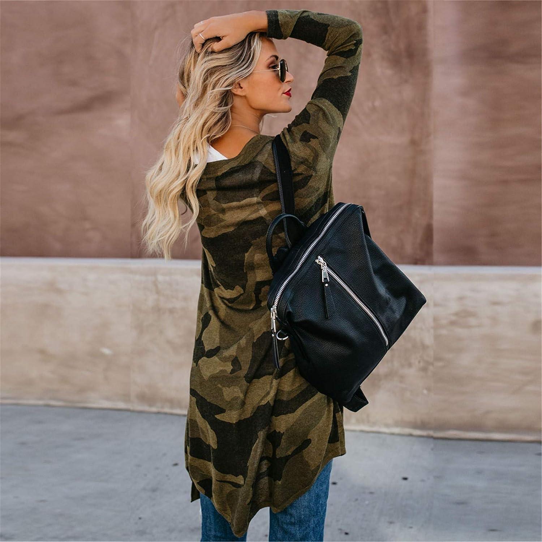 Women Long Cardigan Camouflage Long Sleeve Coat Leisure Leopard Print Outerwear Coat