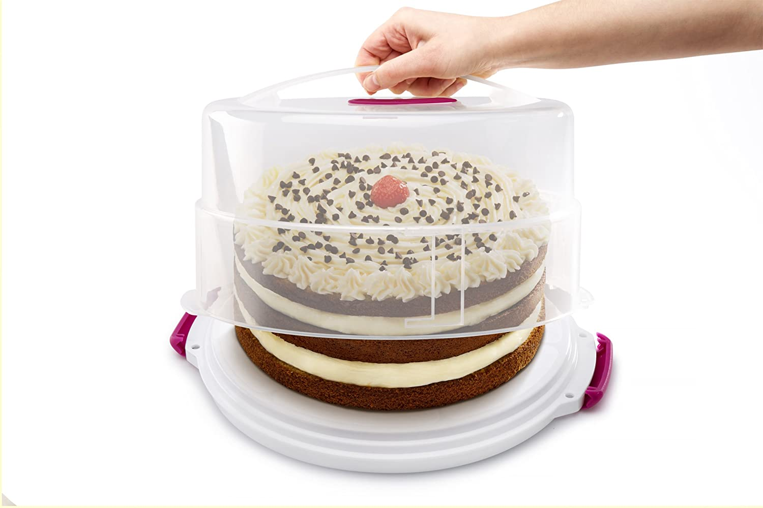 Metaltex Adjustable Cake Carrier /& Holder White//Pink