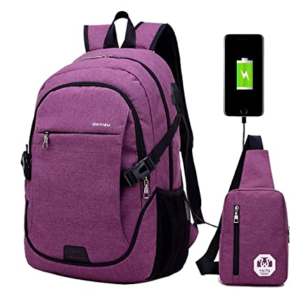 Super Modern Unisex Nylon School Backpack with USB Charger Port Laptop Bag  for Teen Girls and 606154f45b0c2