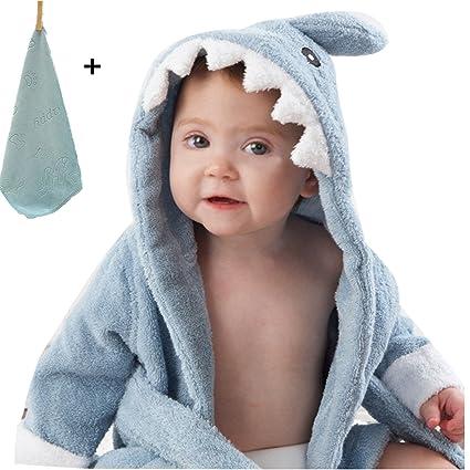 yocome bebé tiburón con capucha albornoz, toalla de baño y manopla ...