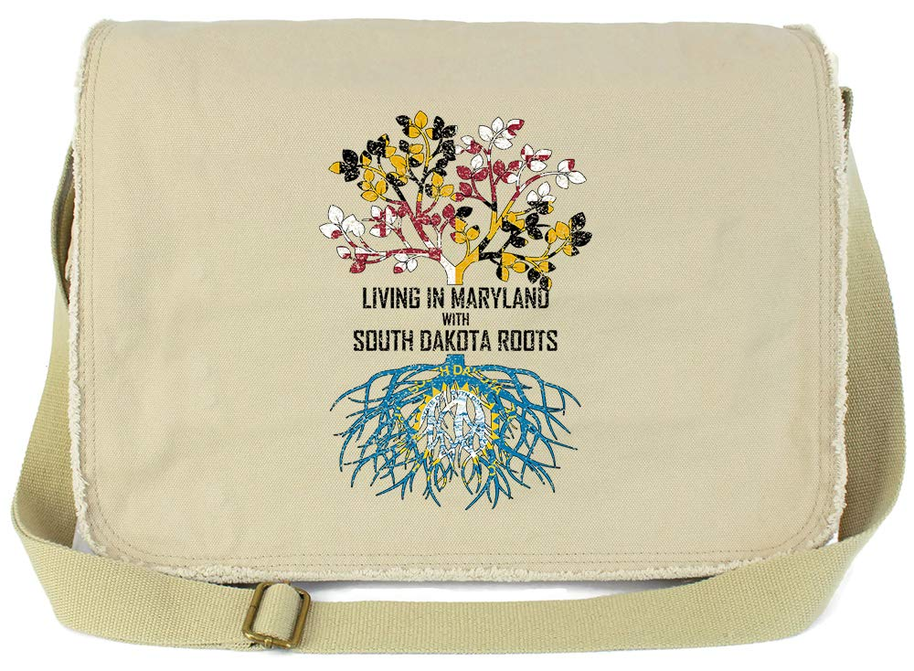 Tenacitee Living In Maryland with South Dakota Roots Grey Brushed Canvas Messenger Bag