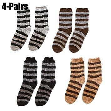 Fascigirl Calcetines de Felpa, 4 Pares Calcetines de Felpa de Rayas Calcetines de Peluche CáLidos Calcetines de Terciopelo de Coral para Hombres: Amazon.es: ...