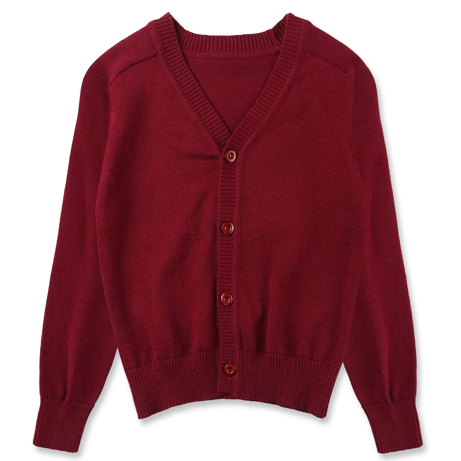 CUNYI Little Boys Button-up Cardigan V-Neck Cotton Knit Sweater Casual Outerwear, Dark Red, 140