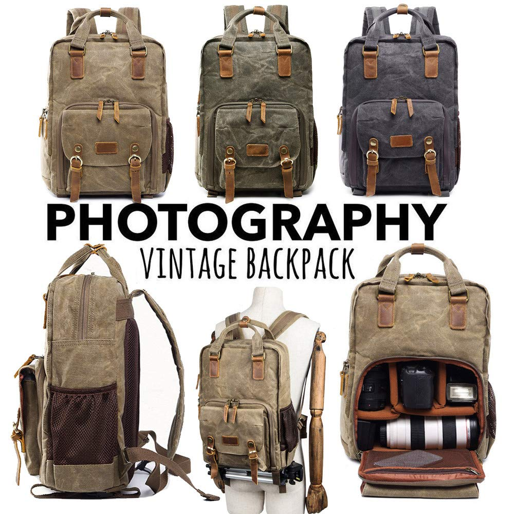 Vintage Photography Backpack Hot Premium Multi-Functional Military Style Canvas Backpack Rucksack,Waterproof Photography Canvas Bag for Camera, Lens and Accessories (Army Green) by Outsta (Image #4)
