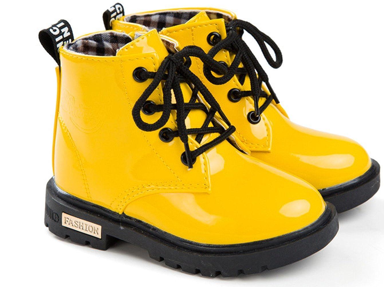 DADAWEN Boys Girls Waterproof Lace-Up Boots